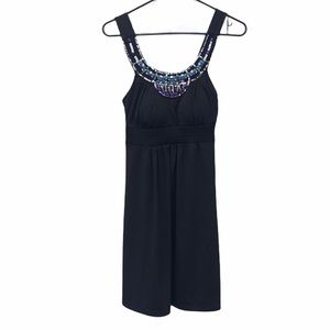 NEW Candie's Black Boho Beaded Collar Halter Dress